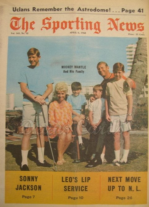 1968 The Sporting News   April 6  - Mickey Mantle & Family / Orlando Cepeda / Al Kaline