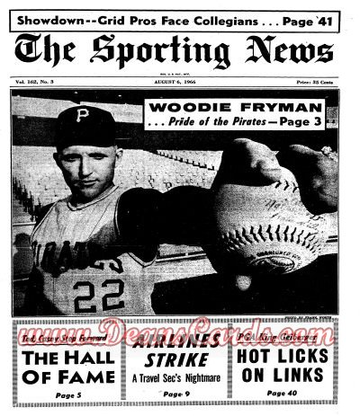1966 The Sporting News   August 6  - Woodie Fryman / Ted Williams / Casey Stengel