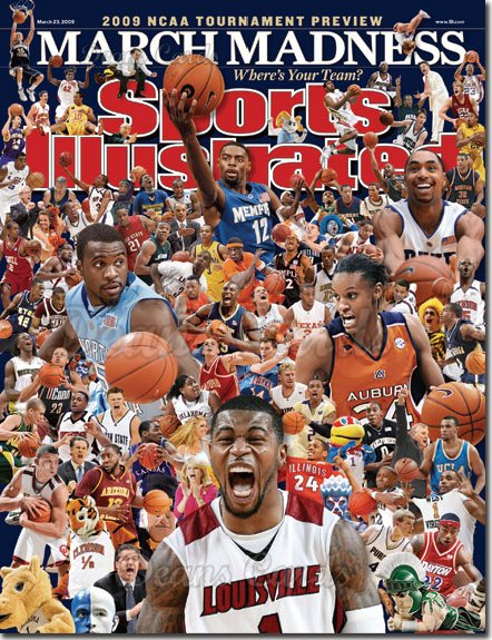 2009 Sports Illustrated - With Label   March 23  -  March Madness (Louisville Auburn Memphis North Carolina)