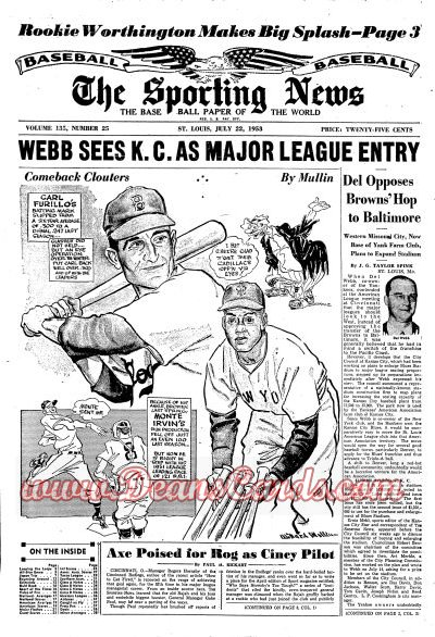 1953 The Sporting News   July 22  - Carl Furillo