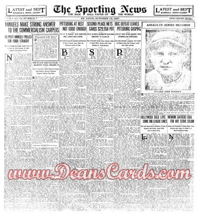 1927 The Sporting News   October 13  - Herb Pennock / Mark Koenig