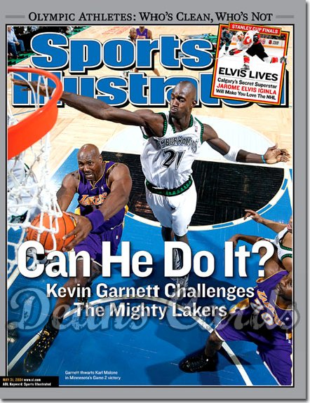 2004 Sports Illustrated - With Label   May 31  -  Kevin Garnett Timberwolves Karl Malone Lakers