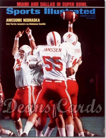 1972 Sports Illustrated - With Label   January 10  -  Bob Terrio/Janssen (Nebraska Cornhuskers)