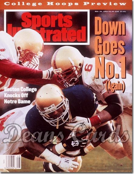 1993 Sports Illustrated - With Label   November 29  -  Lee Becton (Notre Dame v Boston College)