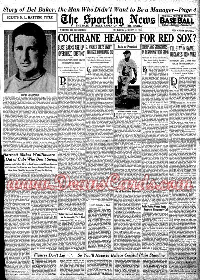 1938 The Sporting News   August 11  - Ernie Lombardi