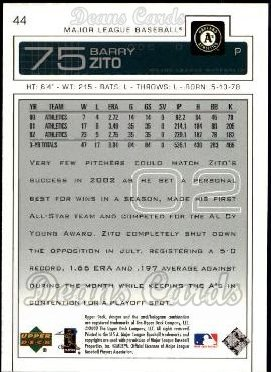 2003 Upper Deck #44  Barry Zito