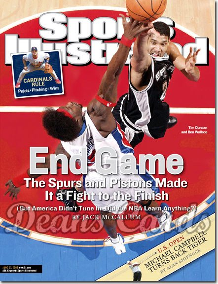 2005 Sports Illustrated   June 27  -  Tim Duncan Spurs Win Gm5 Ben Wallace Pistons