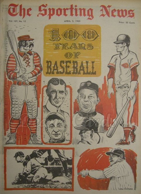 1969 The Sporting News   April 5  - 100 Years of Baseball