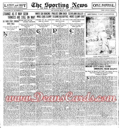 1923 The Sporting News   May 17  - Black Sox / Charley Grimm