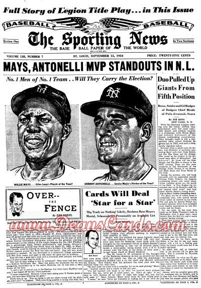 1954 The Sporting News   September 15  - Willie Mays