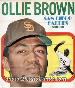 1970 Topps Poster Inserts #18  Ollie Brown