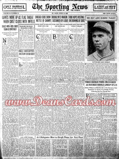 1930 The Sporting News   June 12  - Babe Herman