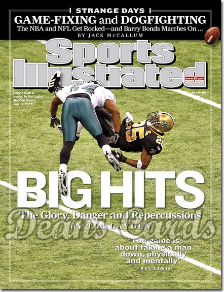 2007 Sports Illustrated - With Label   July 30  -  Reggie Bush & Sheldon Brown Saints vs Eagles