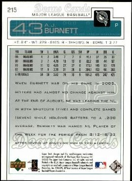 2003 Upper Deck #215  A.J. Burnett
