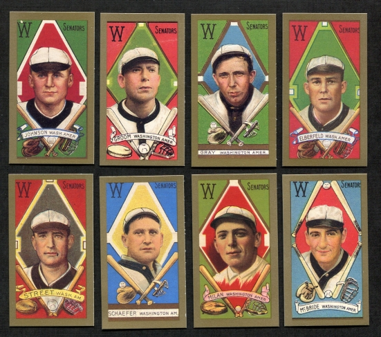 1911 T205 Reprint    T205 Gold Border REPRINT Washington Senators Team Set