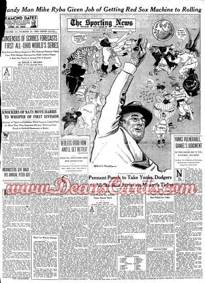 1941 The Sporting News   April 17  - FDR Throws Out First Pitch