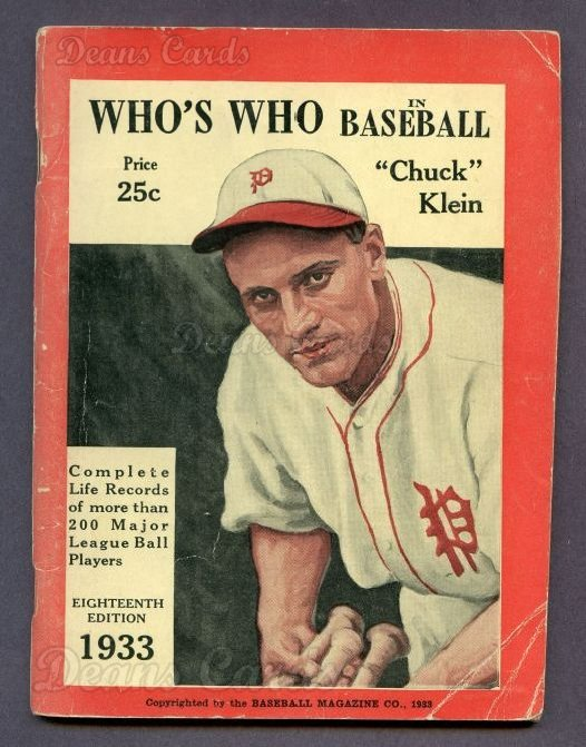 1933 Who's Who in Baseball   -  Chuck Klein