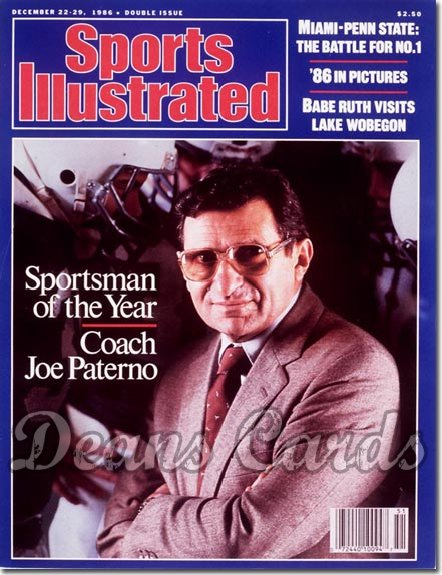 1986 Sports Illustrated - With Label   December 22  -  Joe Paterno Penn State Nittany Lions