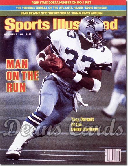 1981 Sports Illustrated - With Label   December 7  -  Tony Dorsett (Dallas Cowboys)