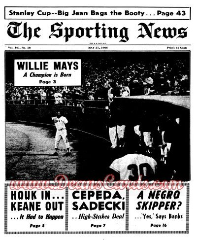 1966 The Sporting News   May 21  - Willie Mays / Yanks fire Keane