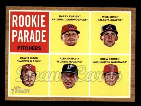 2011 Topps Heritage #494   -  Barry Enright / Mike Minor / Travis Wood / Alex Sanabia / Drew Storen Rookie Parade - Pitchers