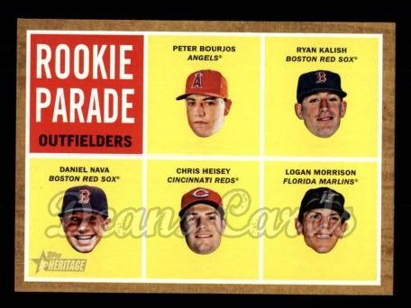 2011 Topps Heritage #500   -  Peter Bourjos / Ryan Kalish / Daniel Nava / Chris Heisey / Logan Morrison Rookie Parade - Outfielders