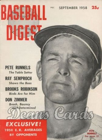 1958 Baseball Digest   -  Pete Runnels  September