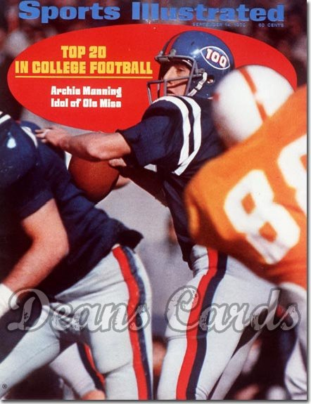 1970 Sports Illustrated - With Label   September 14  -  Archie Manning (Ole Miss Rebels)