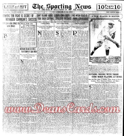 1928 The Sporting News   May 24  - Ed Morris / Hugh Critz