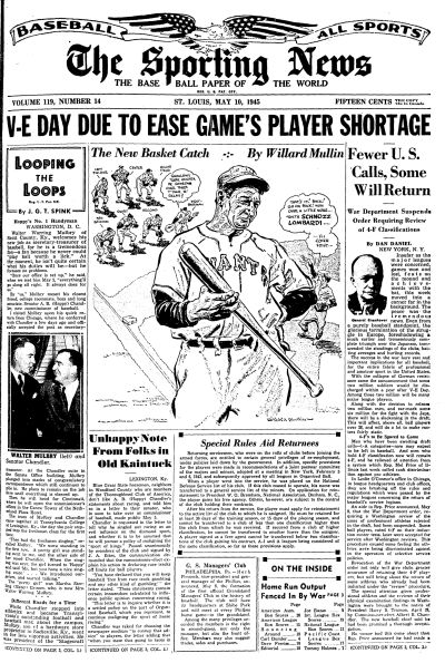 1945 The Sporting News   May 10  - Tommy Holmes