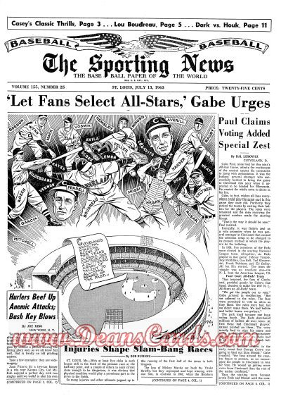 1963 The Sporting News   -  Home Run Baker July 13  - Frank 'Home Run' Baker dies / All-Star Game Issue