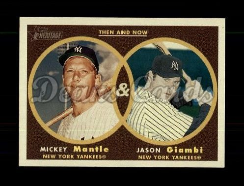2006 Topps Heritage Then & Now #3 TN Mickey Mantle / Jason Giambi