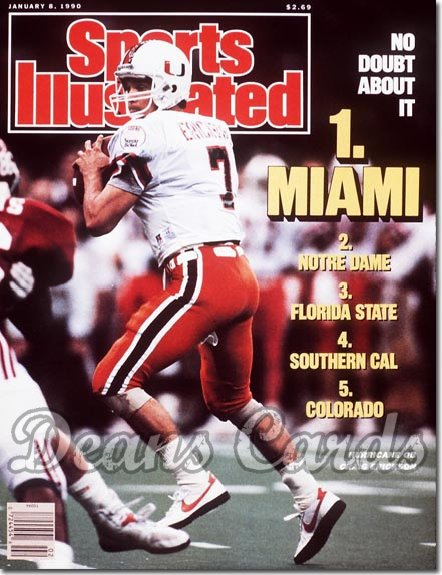 1990 Sports Illustrated - With Label   January 8  -  Craig Erickson (Miami Hurricanes)