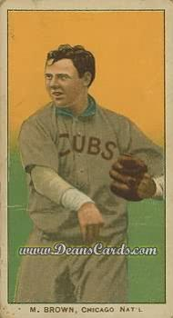 1909 T206 Reprint #58 CUBS Mordecai Brown