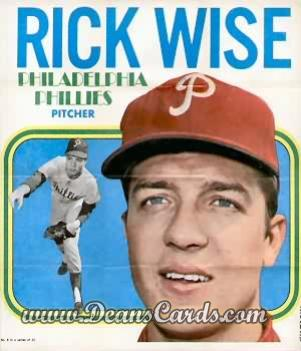 1970 Topps Poster Inserts #8  Rick Wise