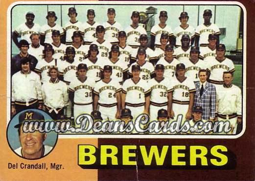 1975 O-Pee-Chee #384   -  Del Crandall Brewers Team Checklist