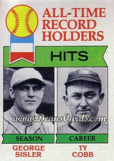 1979 Topps #411   -  George Sisler / Ty Cobb All-Time Record Holders - Hits