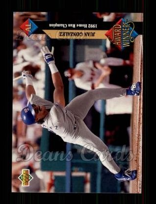 1993 Upper Deck #497   -  Juan Gonzalez Award Winners