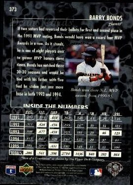 1996 Upper Deck #373   -  Barry Bonds Best of a Generation