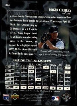 1996 Upper Deck #374   -  Roger Clemens Best of a Generation