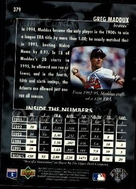 1996 Upper Deck #379   -  Greg Maddux Best of a Generation