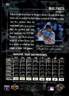 1996 Upper Deck #383   -  Mike Piazza Best of a Generation