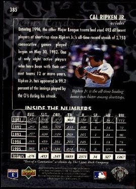 1996 Upper Deck #385   -  Cal Ripken Best of a Generation