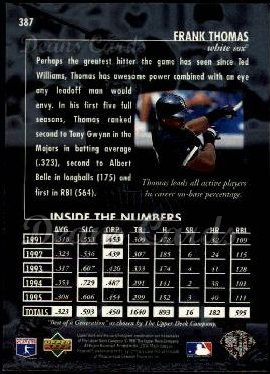 1996 Upper Deck #387   -  Frank Thomas Best of a Generation
