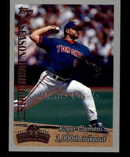 1999 Topps Opening Day #161   -  Roger Clemens  Highlights