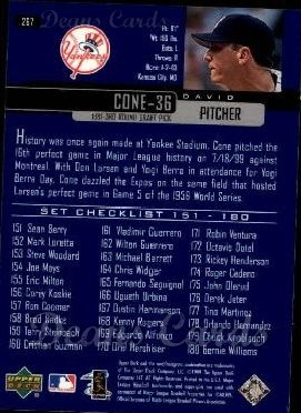 2000 Upper Deck #267   -  David Cone Season Highlights