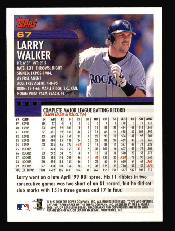 2000 Topps Opening Day #67  Larry Walker