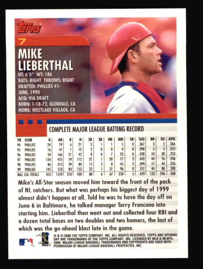 2000 Topps Opening Day #7  Mike Lieberthal
