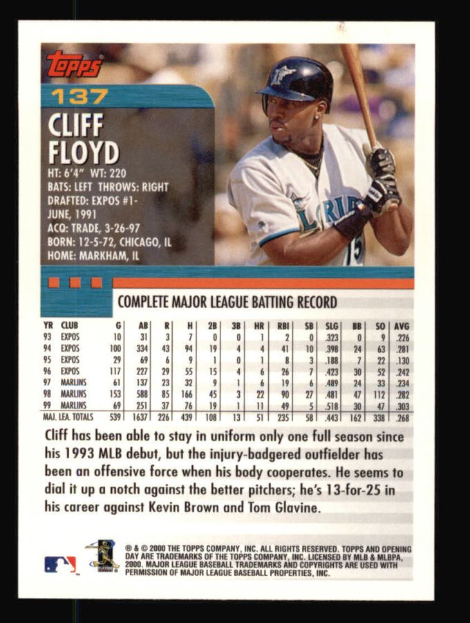 2000 Topps Opening Day #137  Cliff Floyd