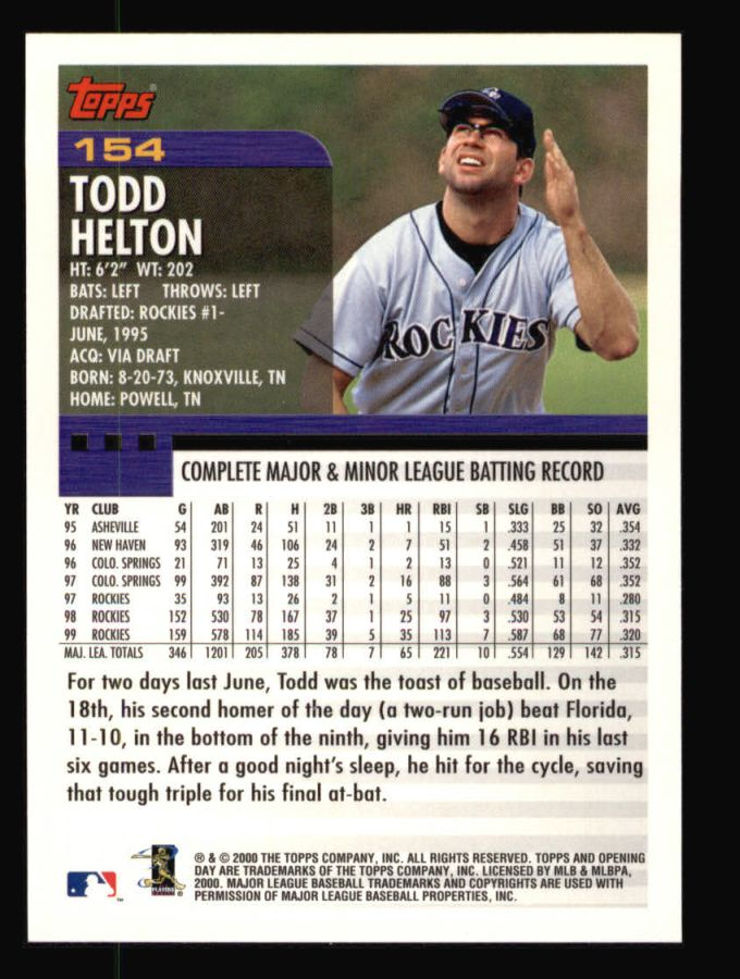 2000 Topps Opening Day #154  Todd Helton